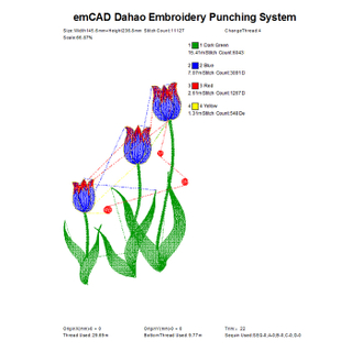 Free Purple Tulip Multi-material Embroidery Pattern