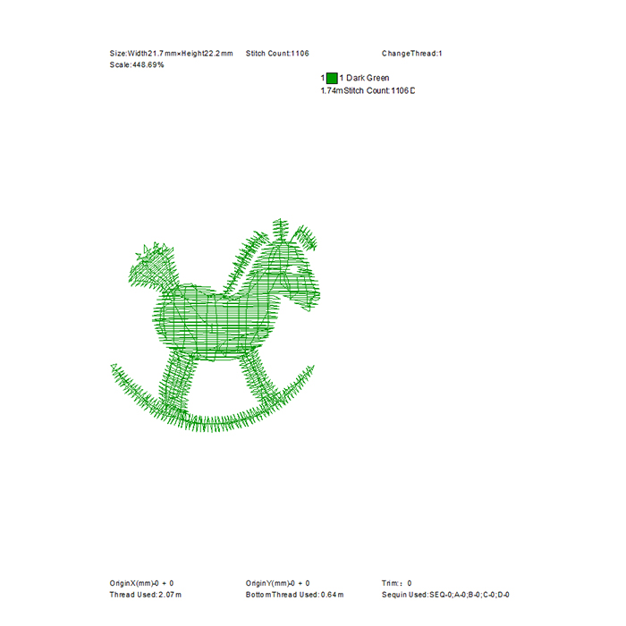 Cartoon Trojan embroidery pattern used for jeans embroidery