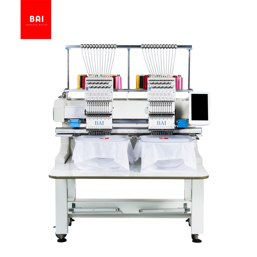 BAI 2 Head 12 Needles Automatic Thread Trimming Multifunction Computer Embroidery Machine Price