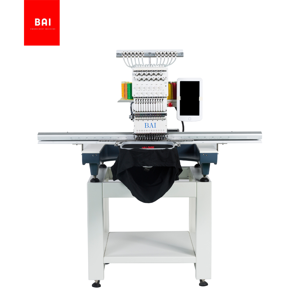 BAI High speed 12 color computer control hat t shirt embroidery machine with 500*1200 area