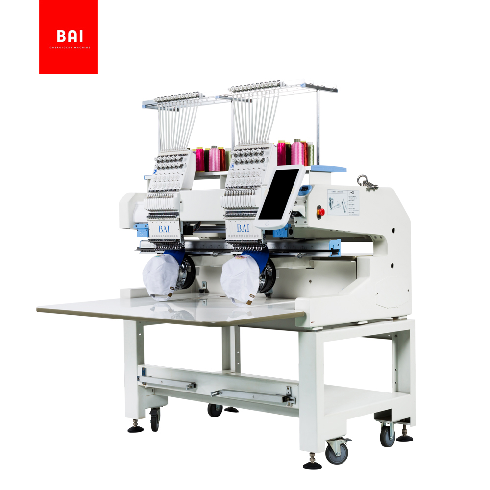 BAI 400mm*500mm Two Head Computerized Embroidery Machine for Hat T-shirt Flat Embroidery