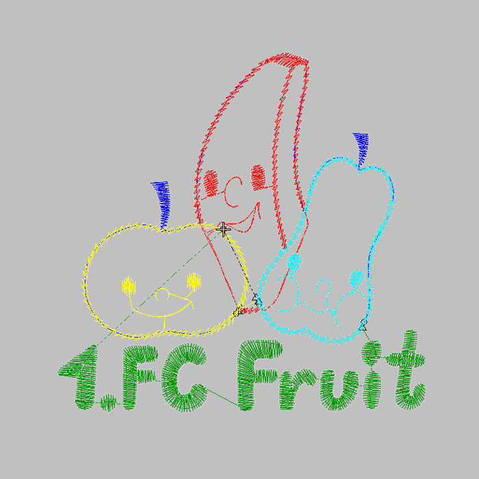 Fruit alphabet embroidery pattern for short sleeves