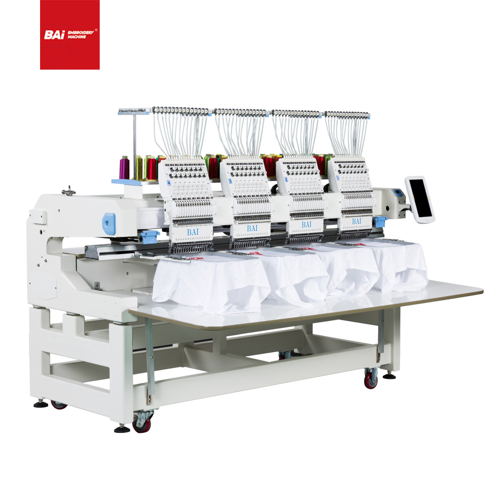 BAI Digital High Speed 4 Heads Professional Computer Embroidery Machine for Cap T-shirt Flat