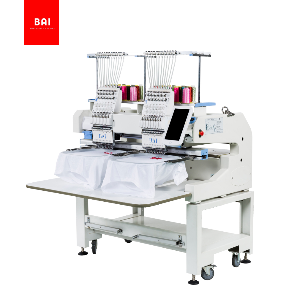 BAI High Performance 2 Double Heads Hat Hat Flat Computer 12 Colors Embroidery Machine